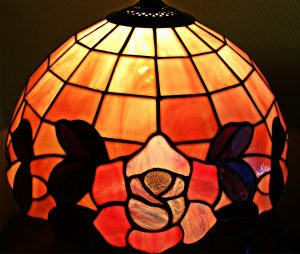 stained glass lamp with flower