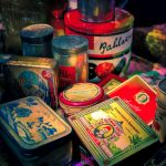 antique tins and other items