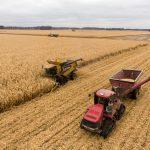farm equipment in use in field