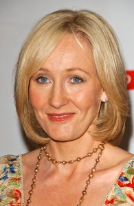 J.K. Rowling at a press conference to promote her